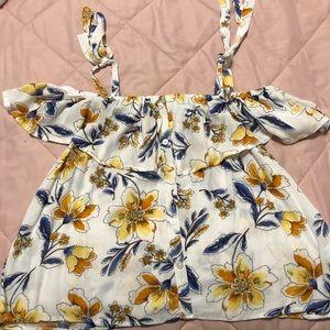 Forever 21 off the shoulder floral blouse